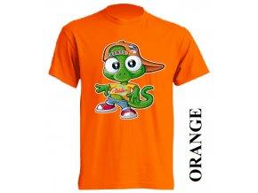 film-dětské_tričko-oranžové-motiv-ještěrka