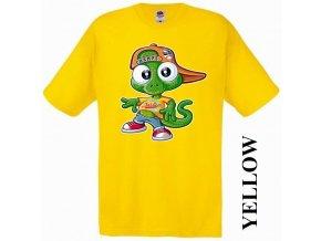 bavlněné-levné-dětské-tričko-žluté-ještěrka-los_angeles