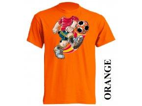 film-dětské_tričko-oranžové-motiv-fotbal