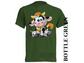 bavlněné-dětské_tričko_s_potiskem-tmavě_zelené-kravička