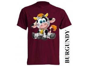 bavlněné-dětské-tričko-vínové-burgundy-kráva