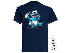 bavlněné-levné-dětské_tričko-tmavě_modré-potisk-cookie monster