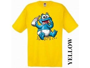 bavlněné-levné-dětské-tričko-žluté-cookie monster