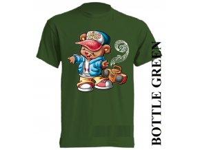 bavlněné-dětské_tričko_s_potiskem-tmavě_zelené-dance_hip_hop