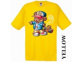 bavlněné-levné-dětské-tričko-žluté-tanec-medvídek
