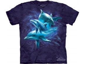 tričko-delfíni-potisk-batikované-modré