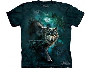 tričko, vlci, noc, batikované, potisk, měsíc