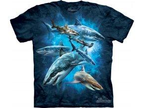 tričko, hejno žraloků, moře, batikované, potisk, mountain