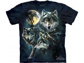 tričko, vlci, měsíc, batikované, potisk, modré