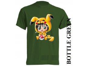 bavlněné-dětské_tričko_s_potiskem-tmavě_zelené-pokemon