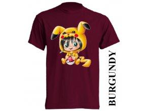 bavlněné-dětské-tričko-vínové-burgundy-pikachu