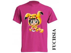 dětské_tričko-fuchsiové-tmavě_růžové-pikachu