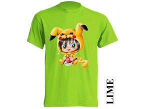dětské-tričko-limetkové-potisk-pokemon-pikachu