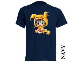 bavlněné-levné-dětské_tričko-tmavě_modré-potisk-pokemon_pikachu