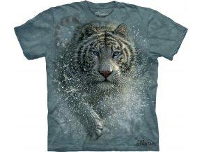 Tričko bílý tygr potisk batikované útok