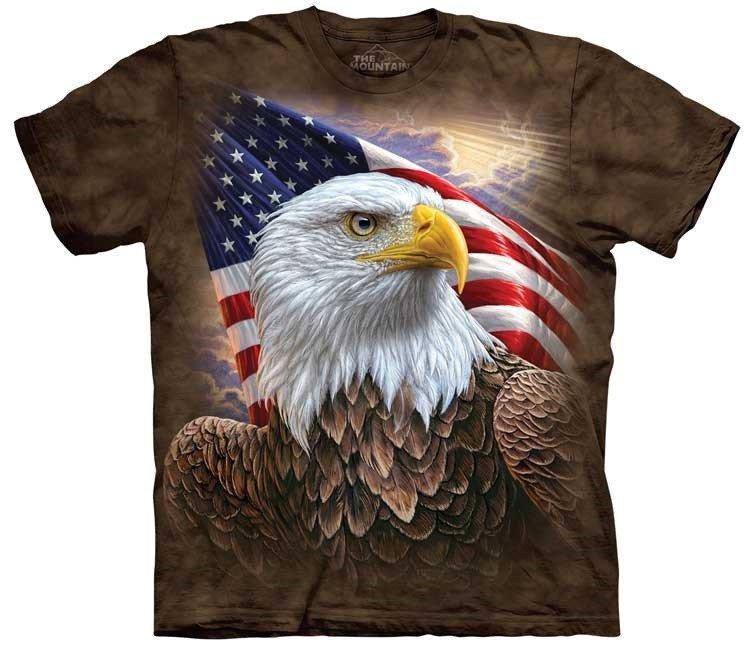 Tričko, orel, usa, potisk, batikované, vlajka Velikost: usa S (eu M) šířka 46, délka 66 cm