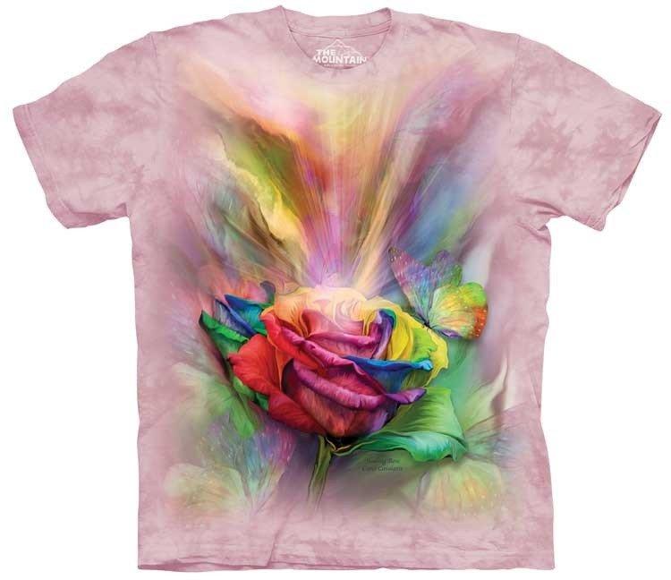 tričko, růže, květina, potisk, batikované, mountain Velikost: usa S (eu M) šířka 46, délka 66 cm