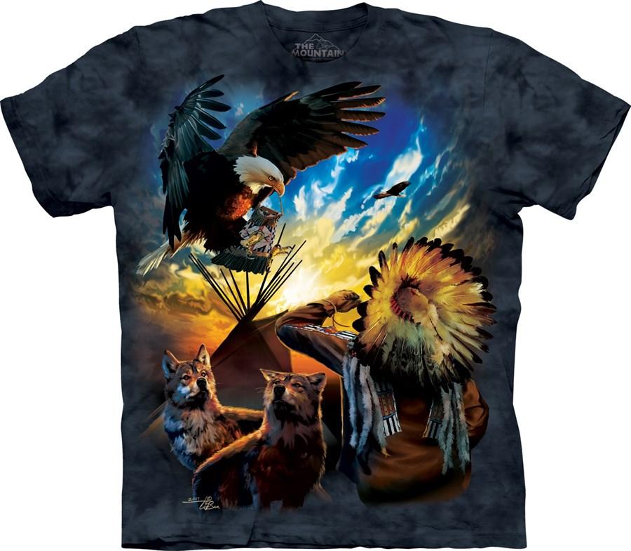 tričko, indián, tee pee, orel, potisk, batikované Velikost: usa XXL (eu 3XL) šířka 63, délka 83cm
