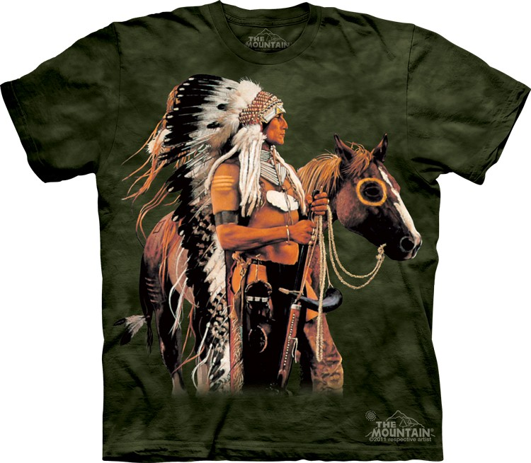 tričko, indián, kůň, válečník, potisk, batikované Velikost: usa S (eu M) šířka 46, délka 66 cm