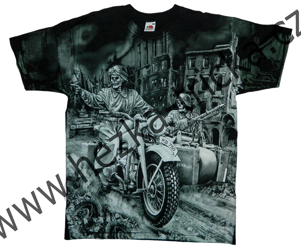 tričko, military, potisk, vtipné, kostlivec, motorka Zundapp Velikost: L