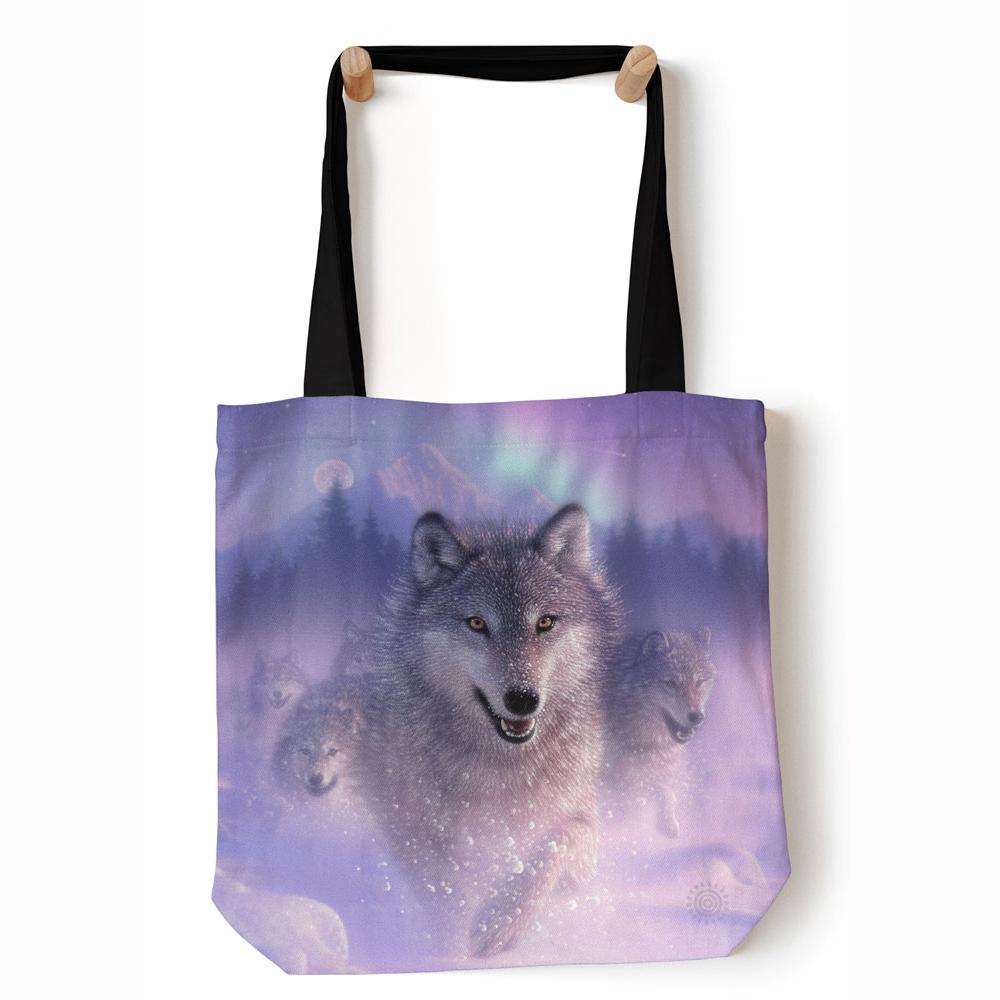 modrá nákupní šitá taška s vlkem the mountain