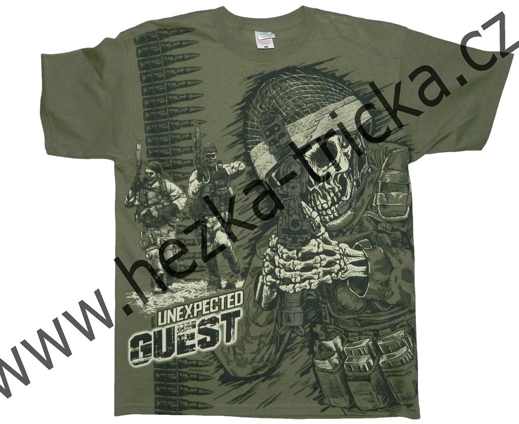 tričko, military, potisk, vtipné, kostlivec, úderná jednotka Velikost: L