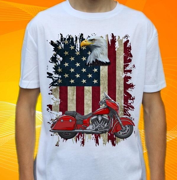 Dětské a pánské tričko s motorkou Indian Velikost: S