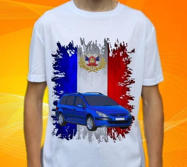 tričko s autem Peugeot 307 SW 2005 Velikost: 116