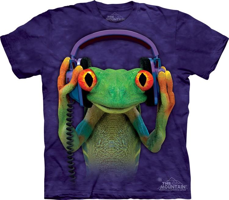 Tričko, žába, vtipné, sluchátka, batikované Velikost: usa S (eu M) šířka 46, délka 66 cm