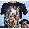 tričko, hvězda, kytara, hráč, svítící, fluorescenční potisk