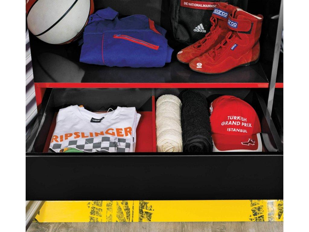 Dětská šatní skříň třídveřová Champion Racer