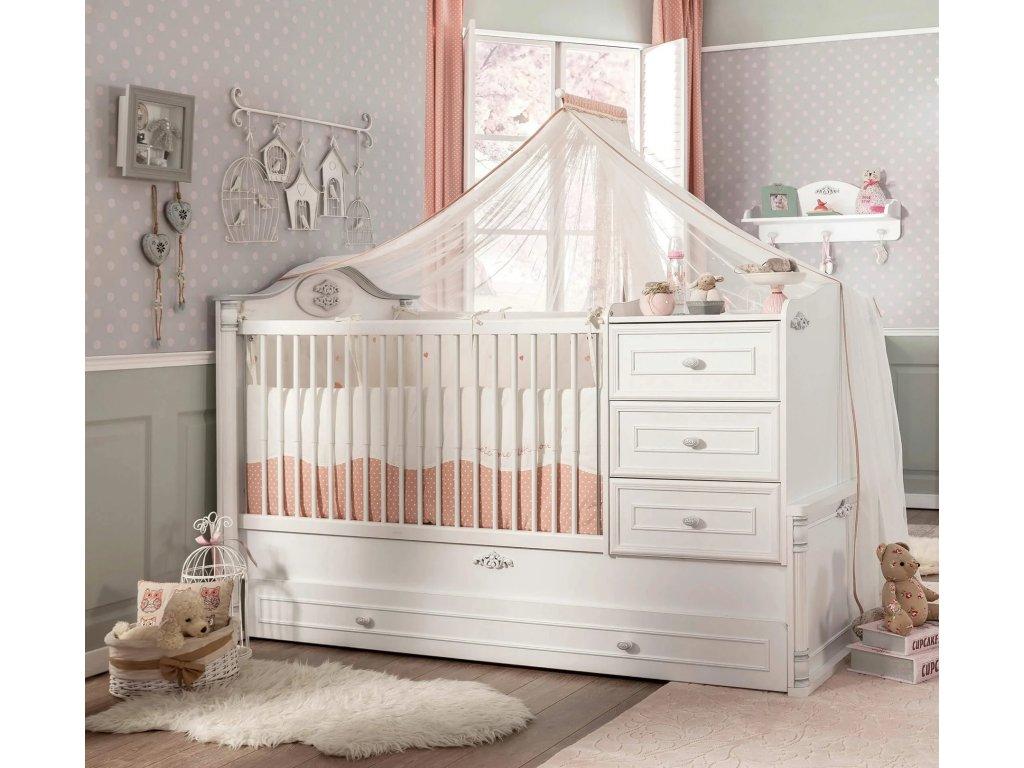 Rostoucí postýlka Romantic Baby SET