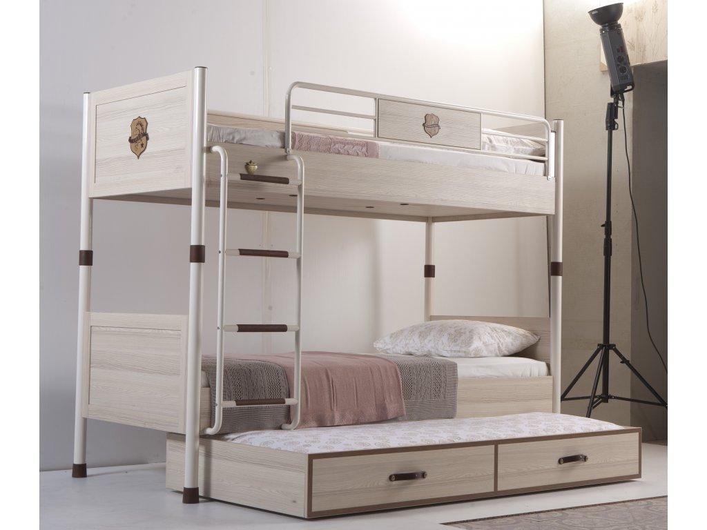 Dětská patrová postel s přistýlkou Royal