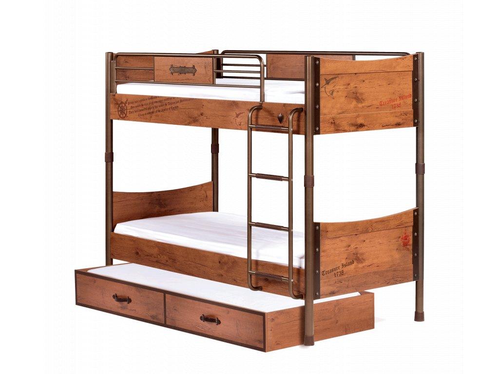 Dětská patrová postel s přistýlkou Pirate