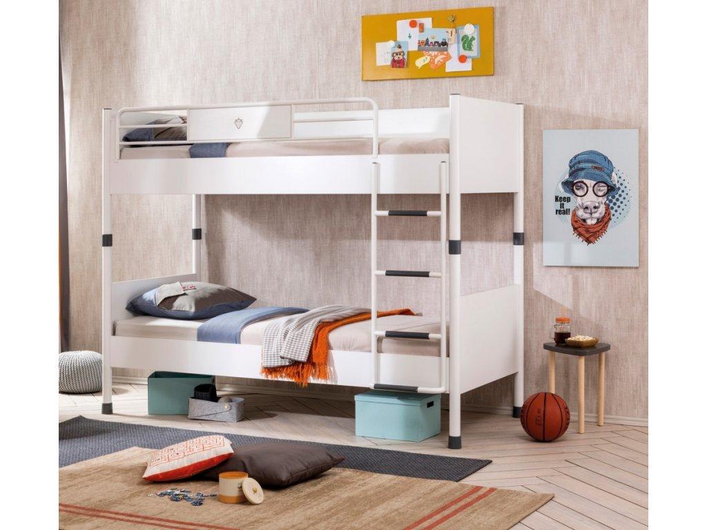 Studentská patrová postel 90x200 cm White
