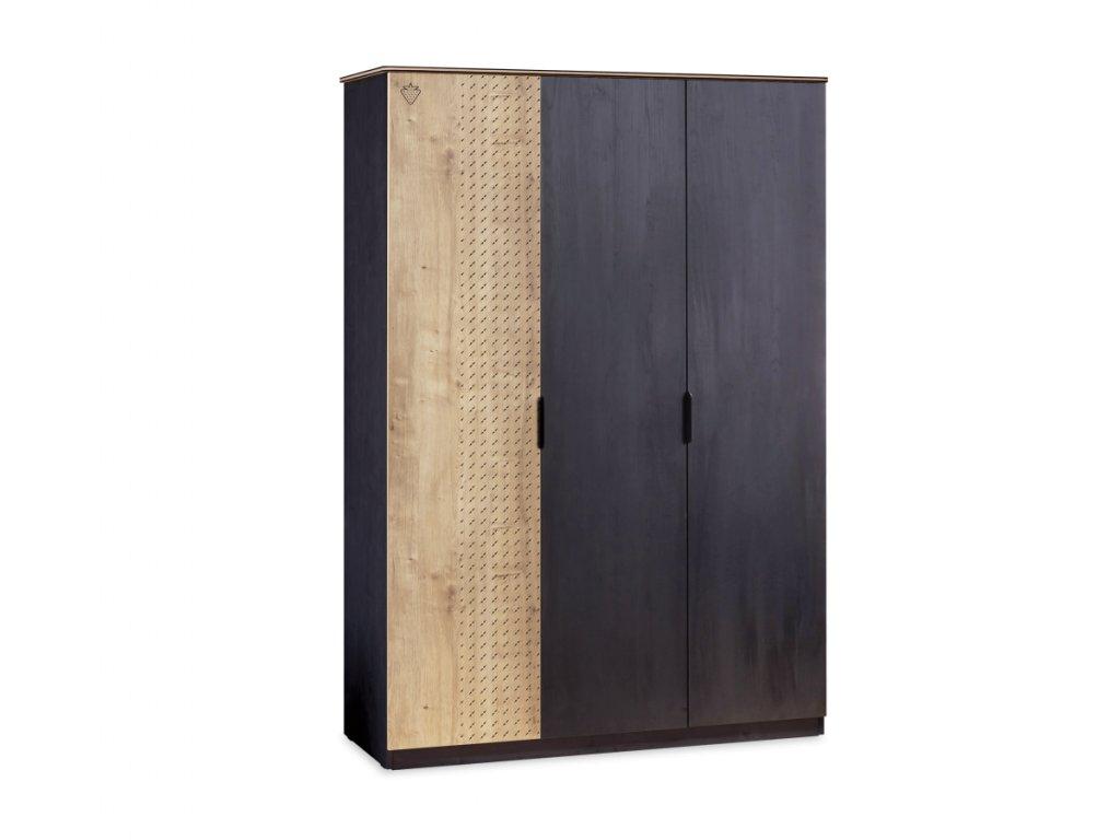 Studentská šatní skříň třídveřová line Black