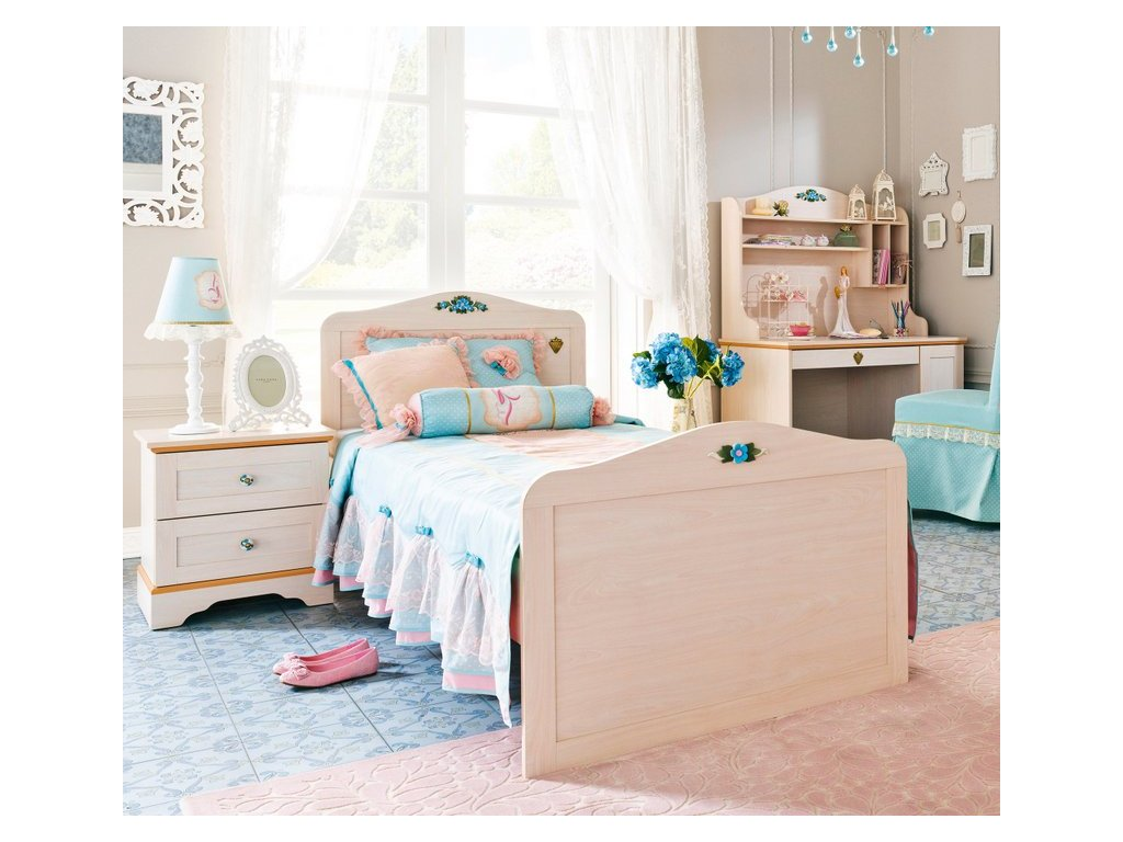 Studentská postel 90x190 cm Flower s výsuvem