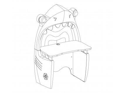 Dětský psací stůl žralok Pirate