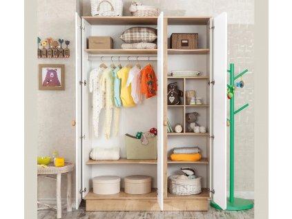 Dětská skříň třídveřová Natura Baby