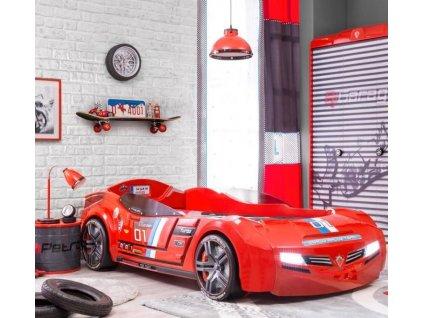 Dětská postel auto 90x195 cm BiTurbo červená