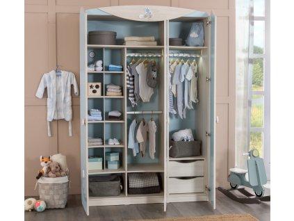 Dětská skříň pro miminko třídveřová Baby Boy