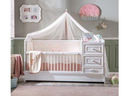 Dětská rostoucí postýlka s přebalovacím pultem Romantic Baby