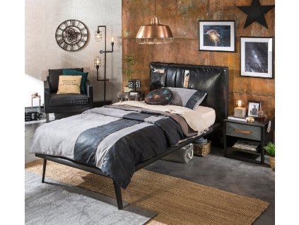 Studentská postel 100x200 cm Dark Metal