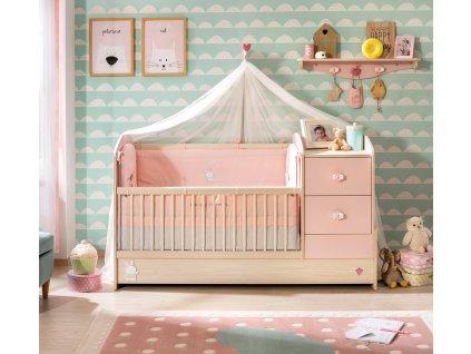 Dětská rostoucí postýlka s přebalovacím pultem Baby Girl