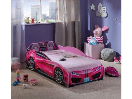 Dětská postel auto 70x130 cm Spyder růžová