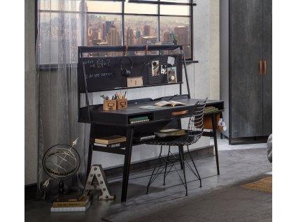 Studentský psací stůl s nástavcem Dark Metal