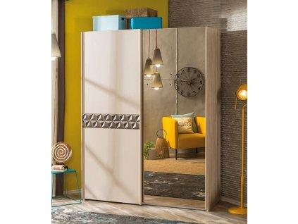 Studentská šatní skříň s posuvnými dveřmi Lofter