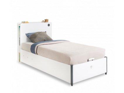 Studentská postel s úložným prostorem vyklápěcí 100x200 cm White