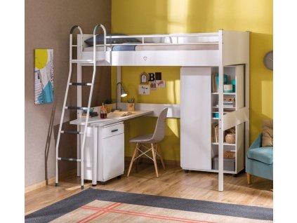 Dětská zvýšená postel s psacím stolem White