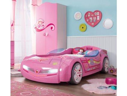 Dětská postel auto 90x195 cm BiTurbo růžová